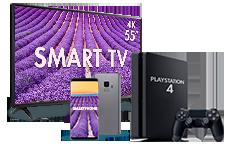Smartphone, Smart TV + Playstation 4
